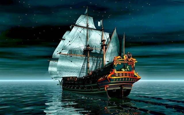 hd imprim moderne peinture l 39 huile art mur pirate imaginaire bateau nuit le bateau oc an. Black Bedroom Furniture Sets. Home Design Ideas