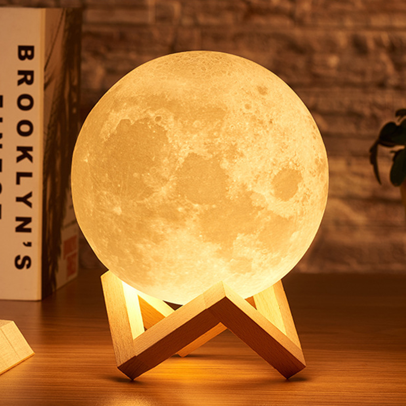 Creative 3D Print LED Moon Night Light Rechargeable  Moon Lamp Bedroom Night Lamp For Christmas Home Decoration Birthday Gift