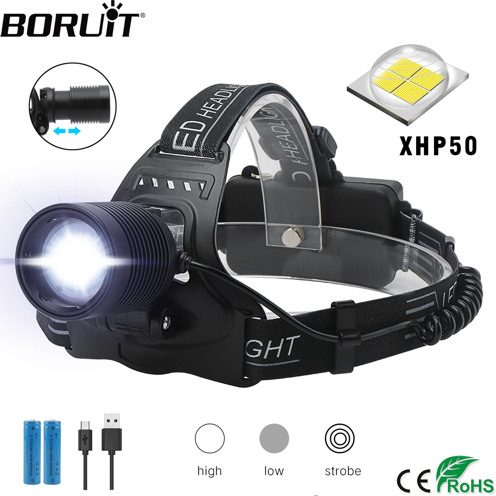 BORUiT H02 XPH50 LED Headlamp Zoomable 3-Mode Headlight USB Charger Head Torch Hunting Flashlight 18650 Battery
