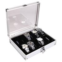 Durable Aluminum 12 Slots Wrist Watch Display Box Lockable Showcase Jewelry Storage Case Organizer (Silver)