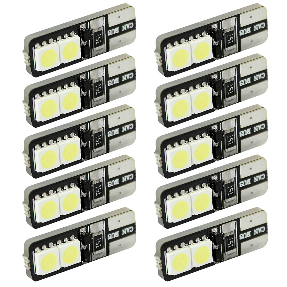 CQD-Light 10pcs CANBUS ERROR FREE LED White T10 168 194 W5W Wedge 4 SMD 5050 Light bulb 4x canbus error free t10 194 168 w5w 5050 led 6 smd white side wedge light bulb
