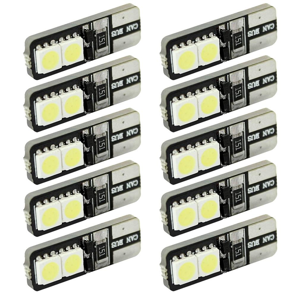 цена на LCARED 10pcs CANBUS ERROR FREE LED White T10 168 194 W5W Wedge 4 SMD 5050 Light bulb