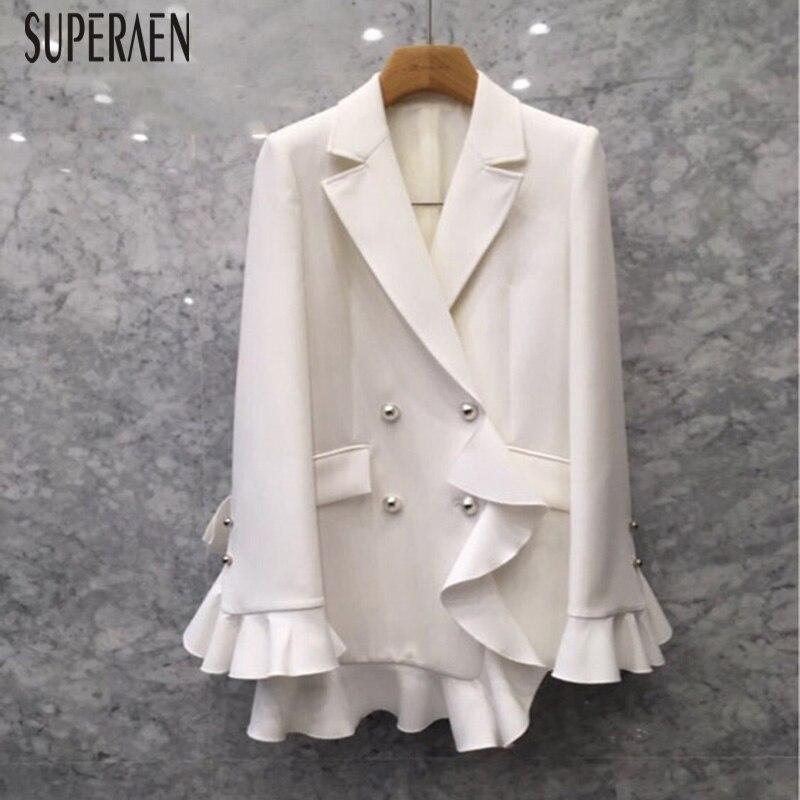 SuperAen moda traje chaqueta femenina 2019 primavera estilo coreano Color sólido mujeres chaqueta temperamento doble pecho mujeres Tops-in chaquetas básicas from Ropa de mujer    1