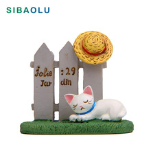 Sleeping Cat Figurine Miniature Kitten Fence Hat Animal Decoration mini fairy garden Cartoon statue craft Home Car Decorative