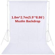 1.8 м x 2.7 м Аксессуары для фотостудий белый фон фотографии 100% хлопок высокое качество Твердые Муслин Фон Задний план PSB2C
