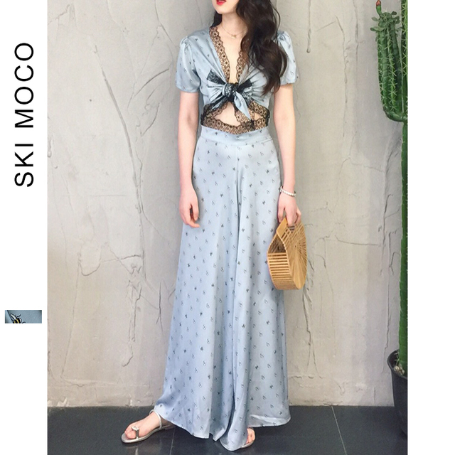 Sexy Crop Tops and Wide Leg Pants Suits Two Piece Camis Set Bow Knot 2018 women fashion lace up bandage Vintage female sets