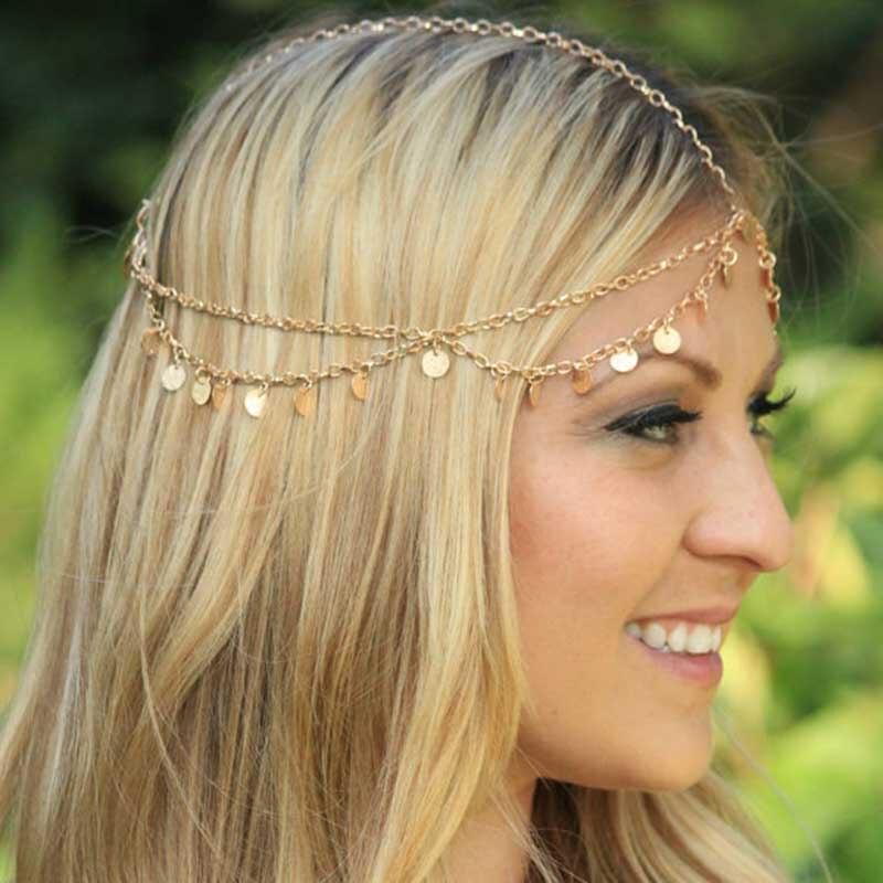 New Women Simple BOHO Style Tassel Gold Shining Handcraft Metal Sequins Hair Jewelry Head Chain Head