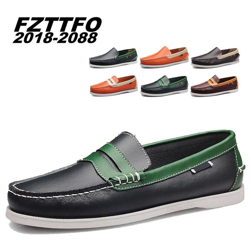 Для мужчин натуральная кожа Фирменное Лодка обувь Для мужчин s Новый плюс размеры 38–46 лоферы, ручной работы кроссовки на плоской подошве Дл... ...