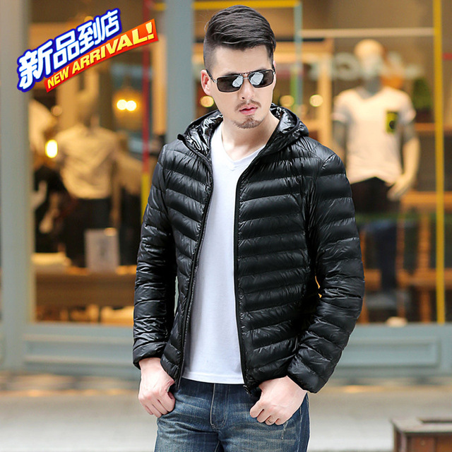 Men's Ultra Light Packable Down Jackets Hooded Slim Down Coats Man ...