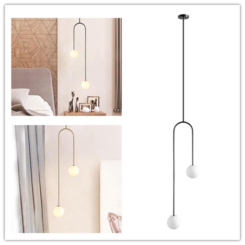 Nordic Bedroom Bedside U Shaped Hanging Pendant Lights Modern Lamps Dining Room Living Room Bar Led Glass Ball Warm De Fixtures