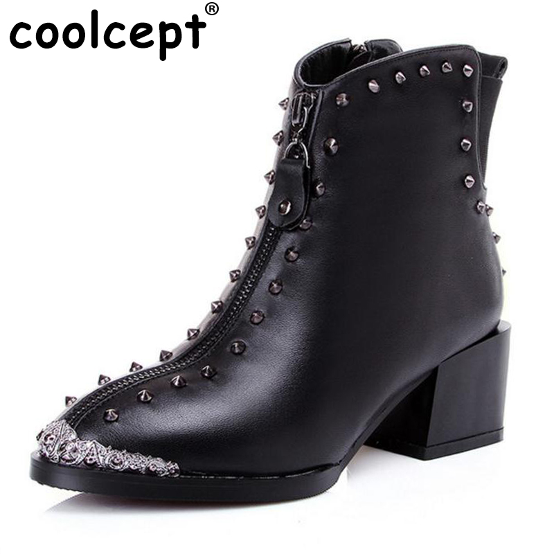 Coolcept women real genuine leather martin high heel ankle boot half short bota winter boot warm footwear shoes R7340 size 34-42 women real natrual genuine leather high heel boots half short feminina botas winter boot footwear shoes r7249 size 34 39