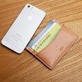 LAN titular de la tarjeta de crédito del cuero genuino de los hombres hechos a mano pequeña caja de tarjeta bancaria monedero sostenedor de la IDENTIFICACIÓN