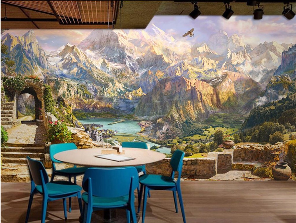Custom photo 3d wallpaper European-style mountain scenery decoration painting 3d wall mural wallpaper for living room free shipping 3d european style cartoon wall painting children room school amusement decoration forest deer wallpaper mural