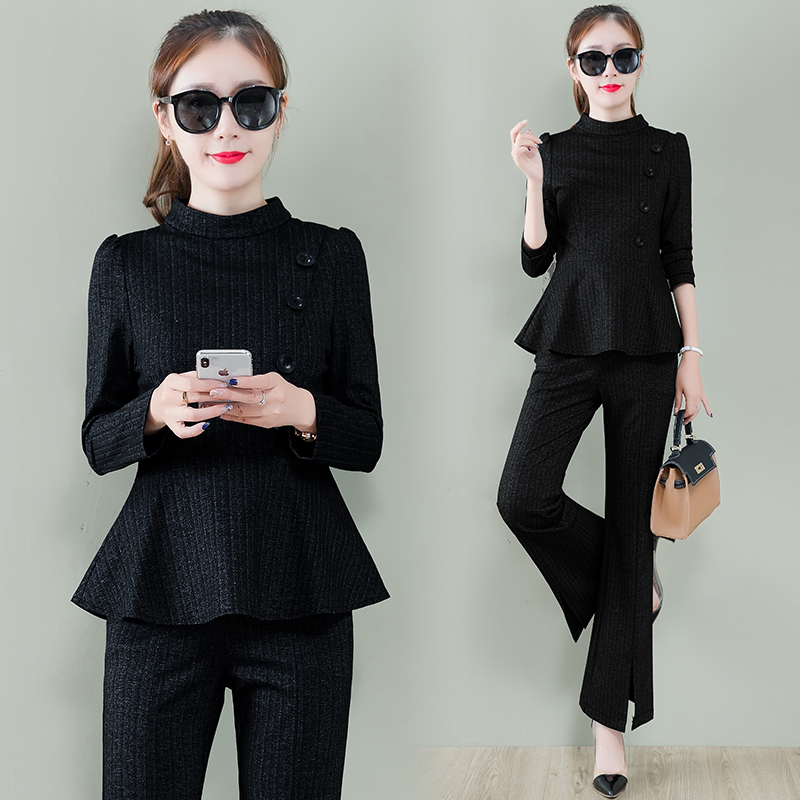 Office 2 Piece Set Women Long Sleeve Tunic Tops And Flare Pants Trousers Sets Spring Autumn Ladies Two Piece Women's Sets Mujer 38
