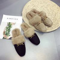 Winter Shoes Woman 2017 Big Size With Fur Platform Flat Loafers Causal Warm Ladies Half Slippers