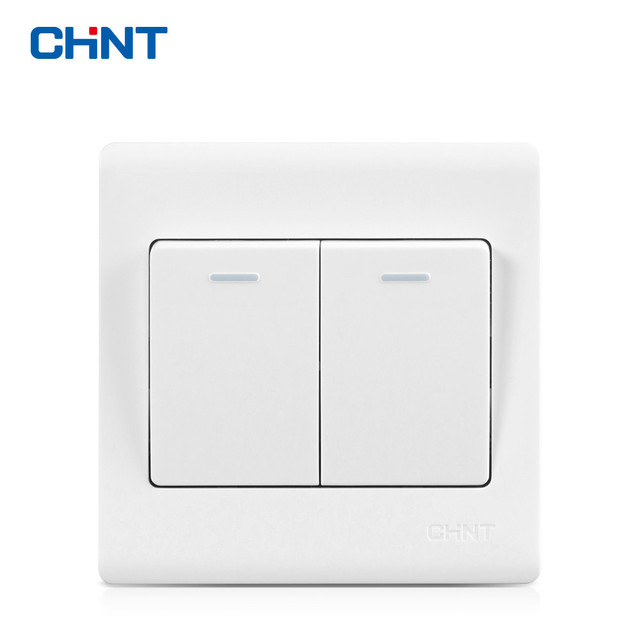 CHNT NEW7D 86 Type Wall Switch Panel Light Switch Elegant White Two ...