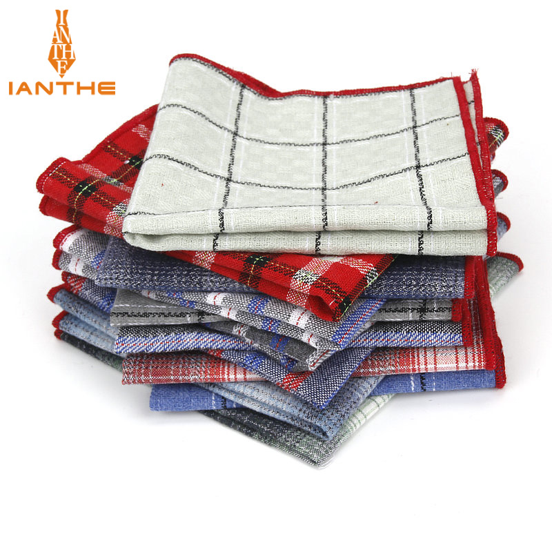 Brand High Quality Hankerchief Scarves Plaid Business Suit Hankies 100% Cotton Casual Men's Stripe Pocket Square Handkerchiefs