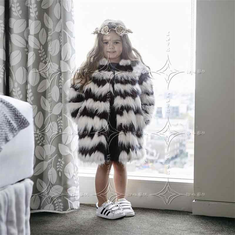 2018 Children Warm Winter Faux Fox Fur Fashion Coats Black White Striped Long Section Fur Jackets European Style Slim Girl Cloth