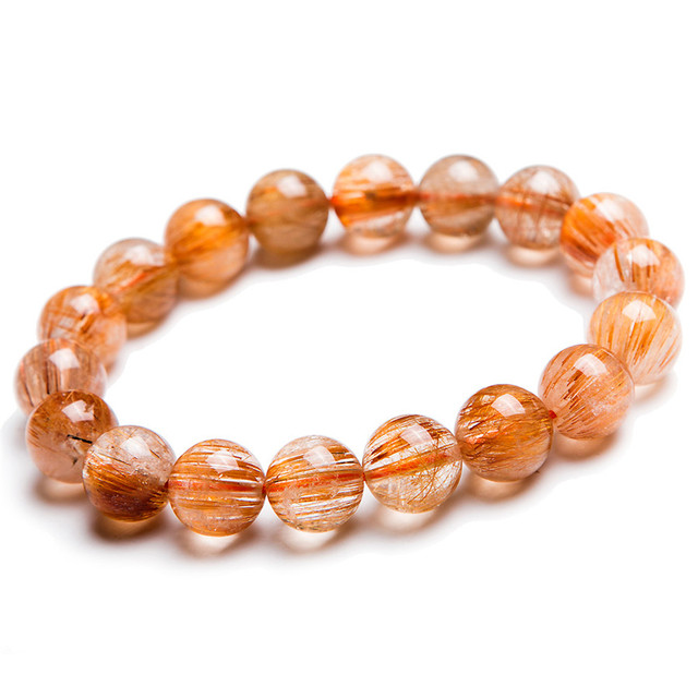 12mm Natural Copper Hair Rutilated Quartz Crystal Round Beads Bracelet For Women Mens Jewelry Charm Stretch Bracelet