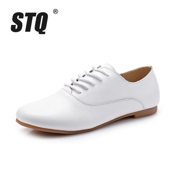 Genuine leather oxford shoes for women