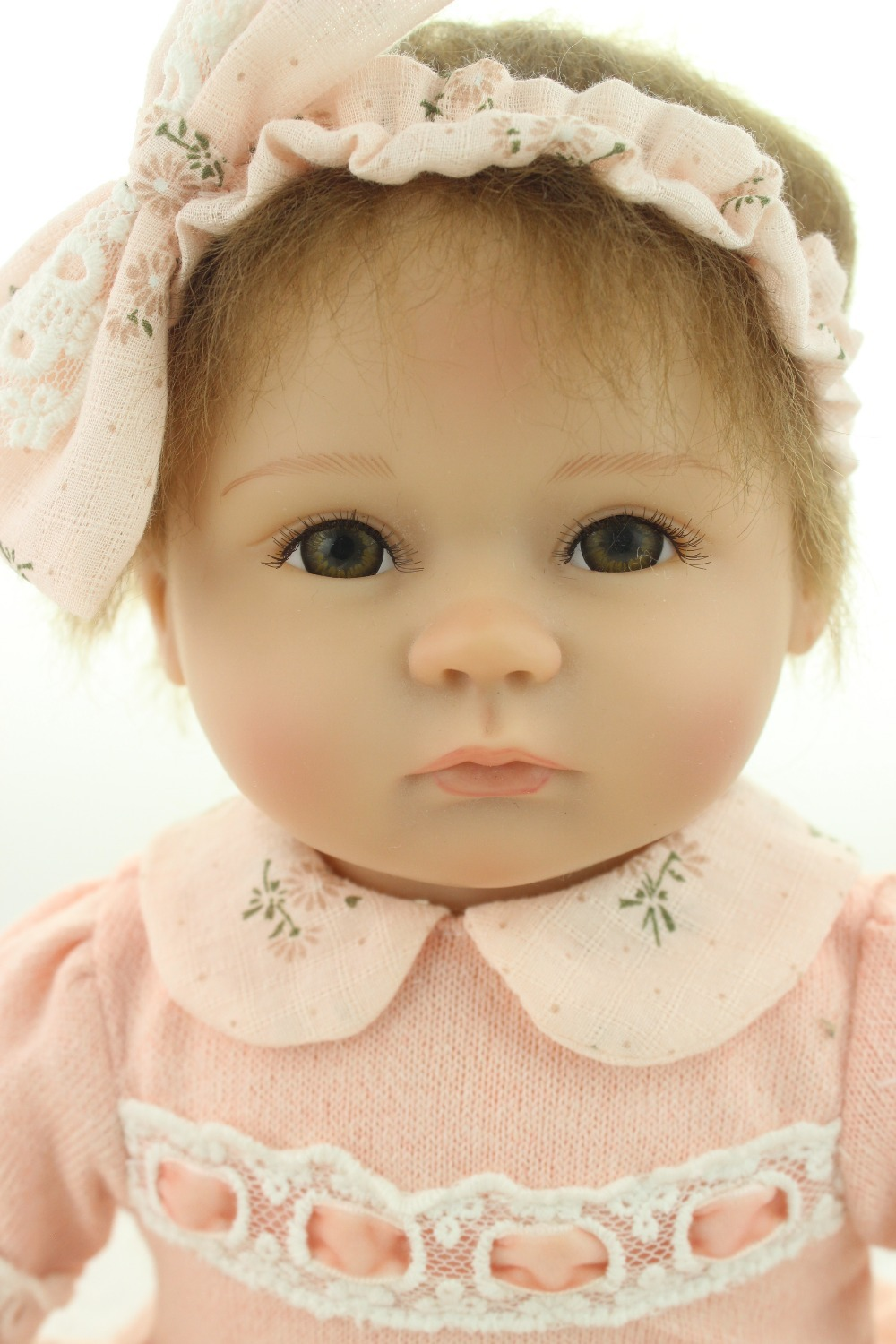 ФОТО 18inches lifelike reborn baby soft silicone vinyl real touch doll  lovely newborn baby