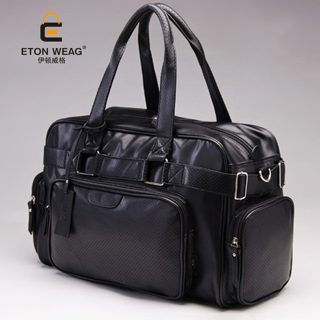 ETONWEAG Brands Cow Leather Duffle Bag Black Zipper Fashion Men Travel Bags Big Capacity Shoulder Bags Vintage Organizer Luggage 3