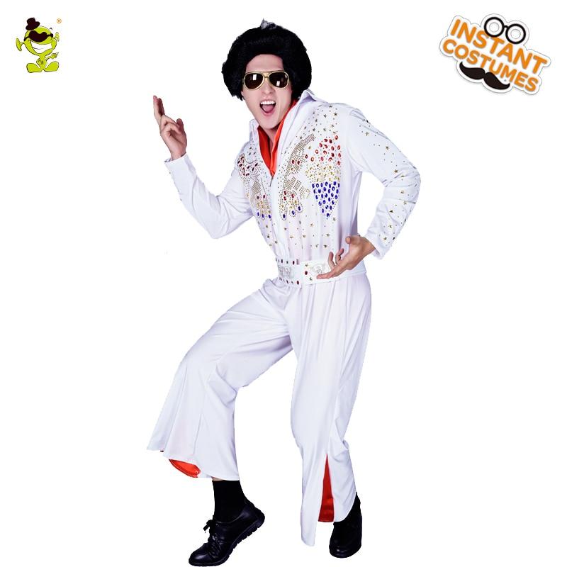 Adulte hommes Elvis Presley Costume Cosplay Costume dans la fête de carnaval film chaud drôle robe Elvis Presley personnage jeu de rôle