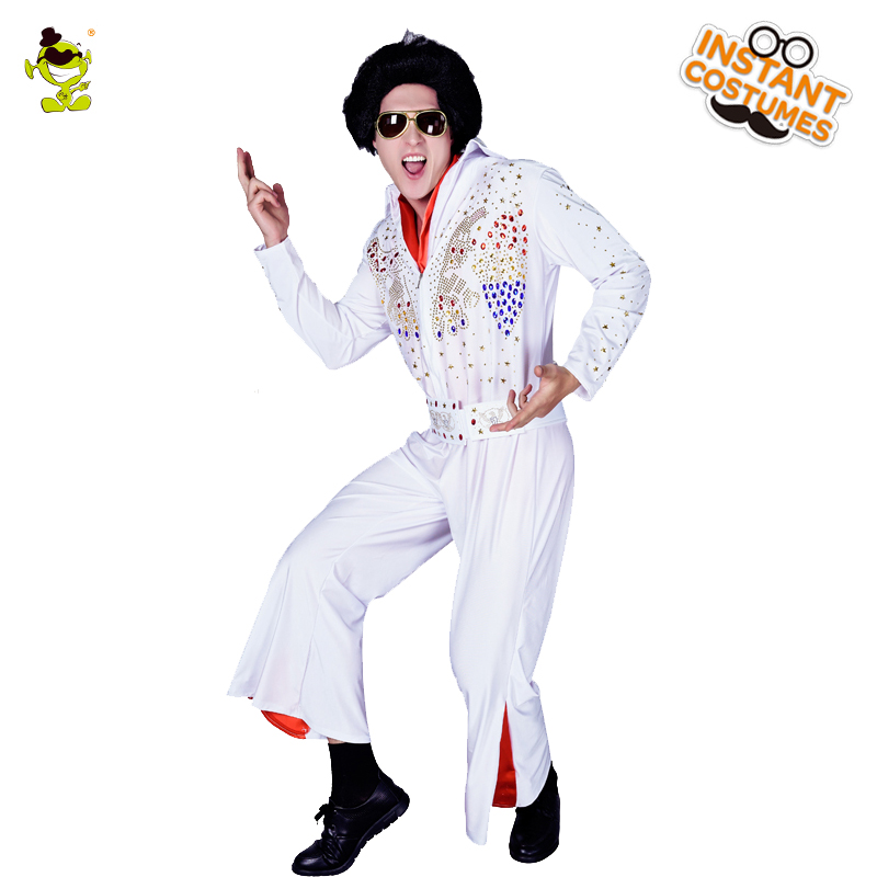 2018 Adult Men's Elvis Presley Costume Cosplay Costume In Carnival Party Hot Movie Funny Dress Elvis Presley Charater Role Play