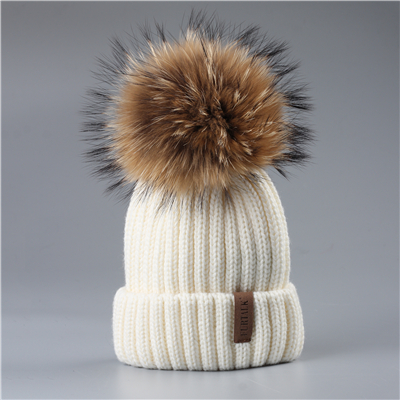 6 Furtalk 2 7 лет зимние детские шапки с меховым помпоном вязаная