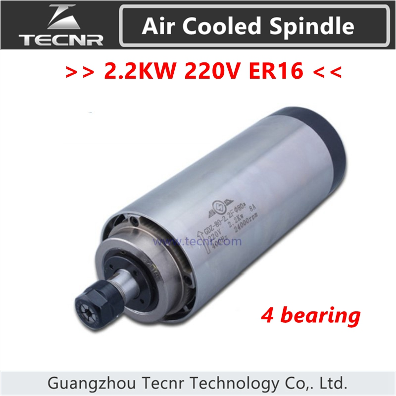 <font><b>2.2KW</b></font> <font><b>air</b></font> <font><b>cooled</b></font> <font><b>spindle</b></font> ER16 milling <font><b>spindle</b></font> <font><b>2.2KW</b></font> 220V 80*195MM with 4 bearing image