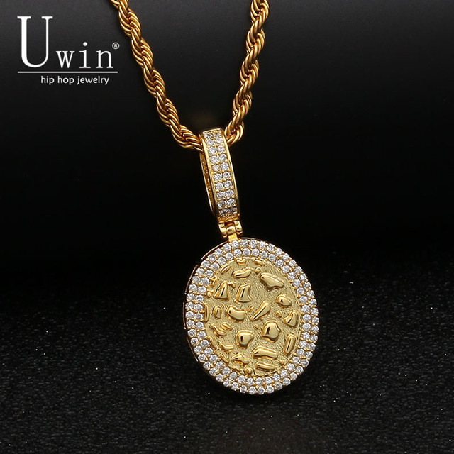 UWIN Oval Army Tag Pendant AAA CZ Bling Iced Out Micro Paved Cubic Zirconia  Hip hop Necklace Tennis Chain Men s Hiphop Jewelry c8e1bd46a6e1