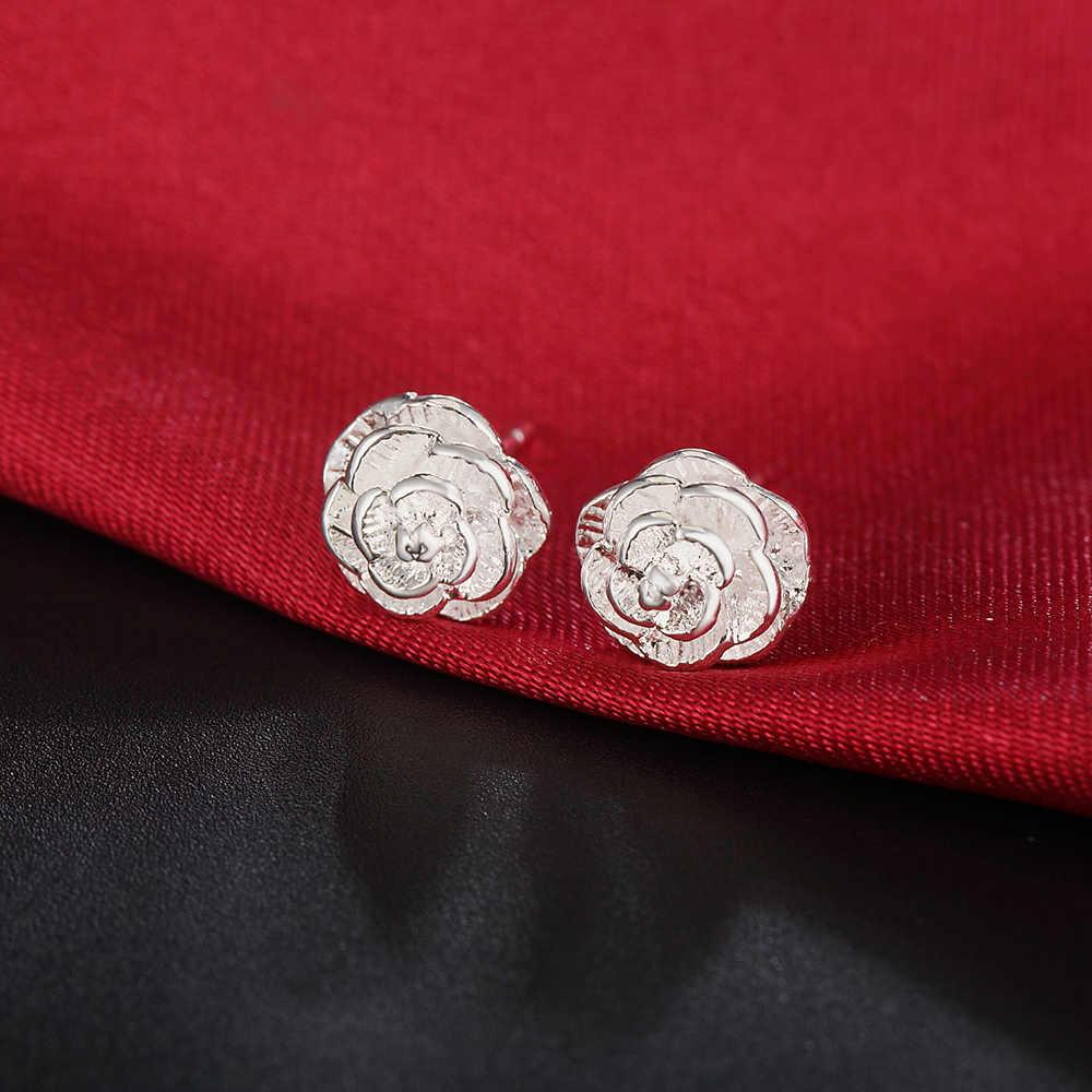 Charmhouse 925 เงินสตั๊ดต่างหูผู้หญิงเกาหลีสไตล์ Rose ต่างหูงานแต่งงานเครื่องประดับเจ้าสาว Brincos Femme ของขวัญเพื่อนที่ดีที่สุด