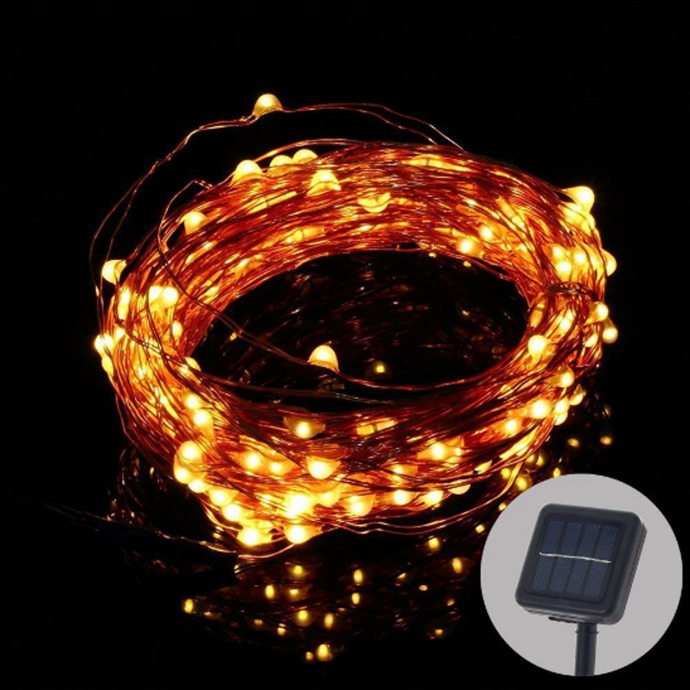 Solar Copper Wire String Light 50ft 150 LED Outdoor Waterproof Fairy Patio Lamp for Garden ...