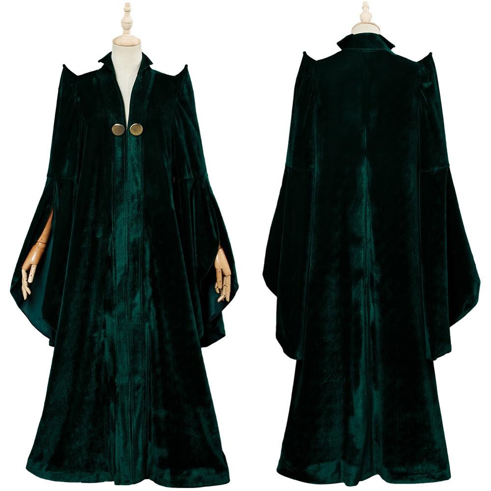 High Quality Professor Minerva McGonagall Cosplay Costume Dress With Green Cape Velvet Role Play Cloak Halloween Carnival