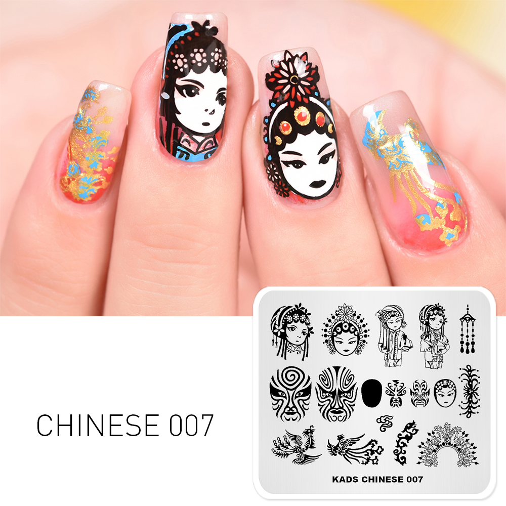 Chinese Beijing Opera Face Mask Template Stencil Beauty Tools Nail Stamp Polish Plate Stamping