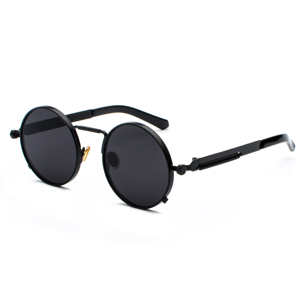 Peekaboo clear red sunglasses men steampunk 2019 metal frame retro vintage round sun glasses for women black uv400 4