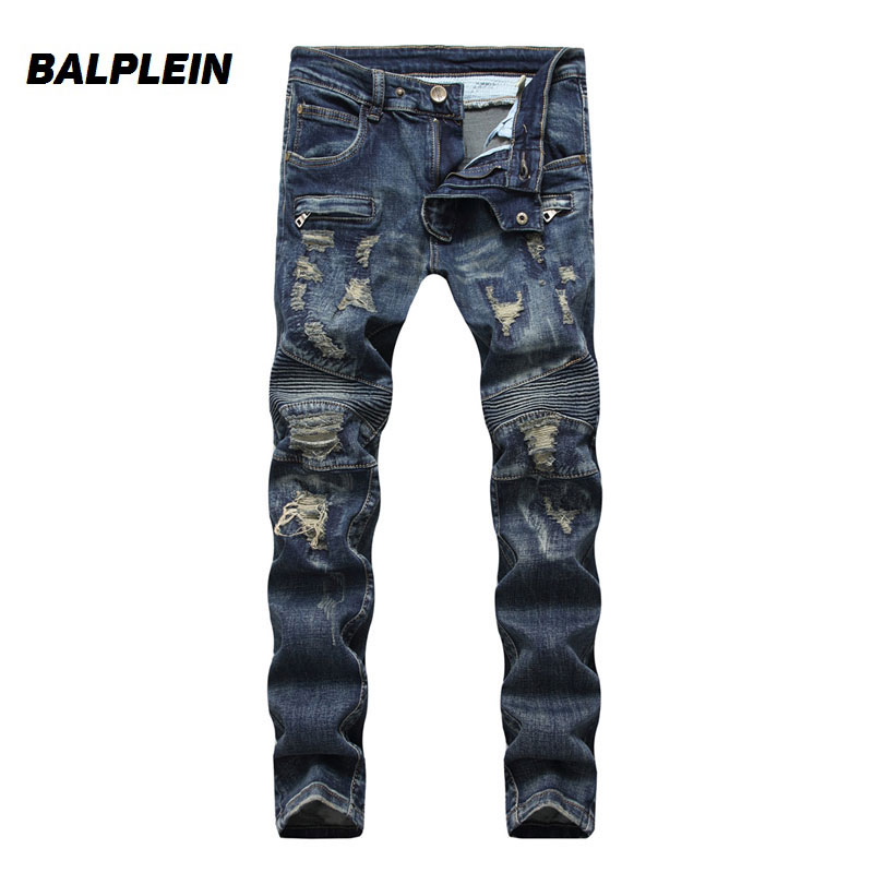 Balplein Brand Mens Jeans High Street Fashion Motorcycle Ripped Jeans Homme Punk Stylish Destroyed Biker Jeans Men Dropshipping