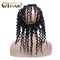 QT 360 Lace Frontal Wig Brazilian Deep Wave Lace Frontal Human Hair Wigs For Women Natural Black Remy Hair