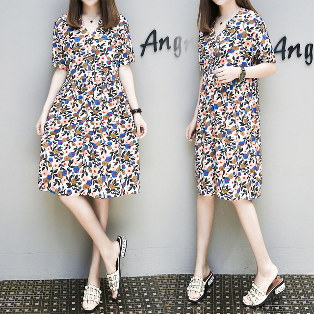 5897780f4ad 5xl plus big size women clothing 2017 spring summer style autumn korean  thin elastic v-neck cute sweet casual dress female A4374