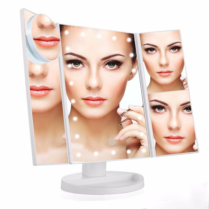 MINCH 22 LED Touch Screen Makeup Mirror 1X 2X 3X 10X Magnifying Mirrors Tri-Folded Desktop Mirror Lights Health Beauty Tool