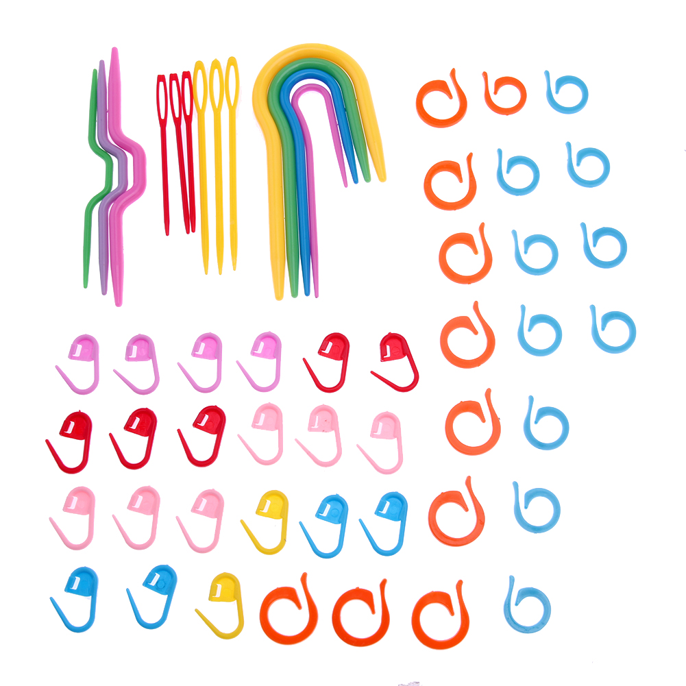 1 Set Plastic Knit Stitch Knitting Needles Crochet Hook Plastic Markers Needle Clip Craft Crochet Locking Knitting Accessories