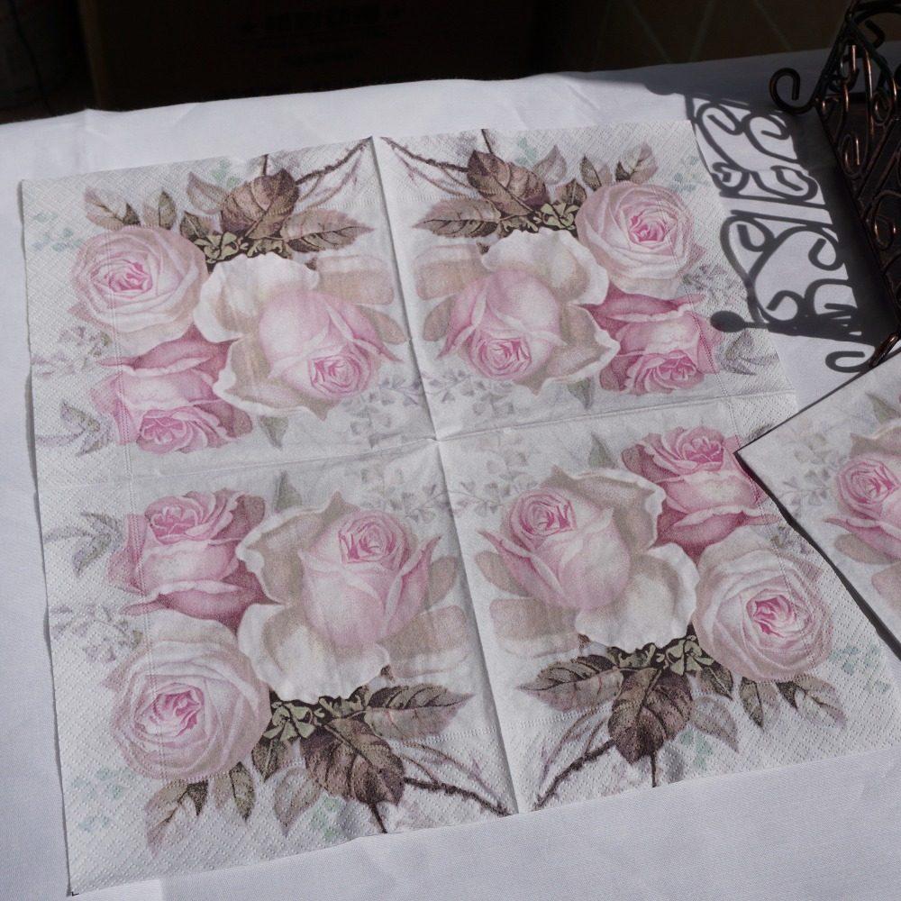 Online Shop 20pcsbag Paper Napkin Rose Flower Servilletas Decoupage