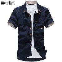 MarKyi большие размеры 5xl гриб вышивка мужская с коротким рукавом рубашки повседневные Модные Новинка 2017 летние хлопковые рубашки мужчин социальной