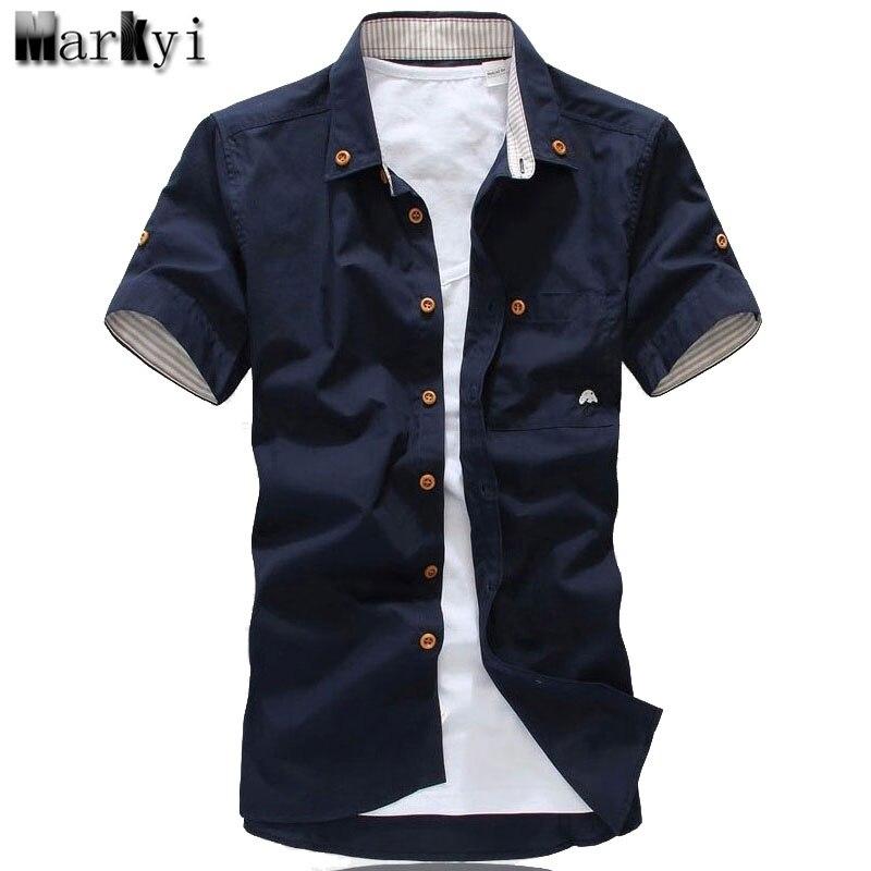 b1fc00aa4256211 MarKyi плюс размер 5xl гриб вышивка мужские повседневные рубашки с коротким  рукавом Мода 2017 новые летние хлопковые рубашки для мужчин