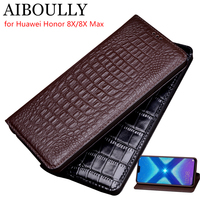 AIBOULLY For Huawei Honor 8X Case Soft Silicone Back Flip Genuine Leather Cover For Honor 8X Max Case Hard Fundas Phone Bag Capa