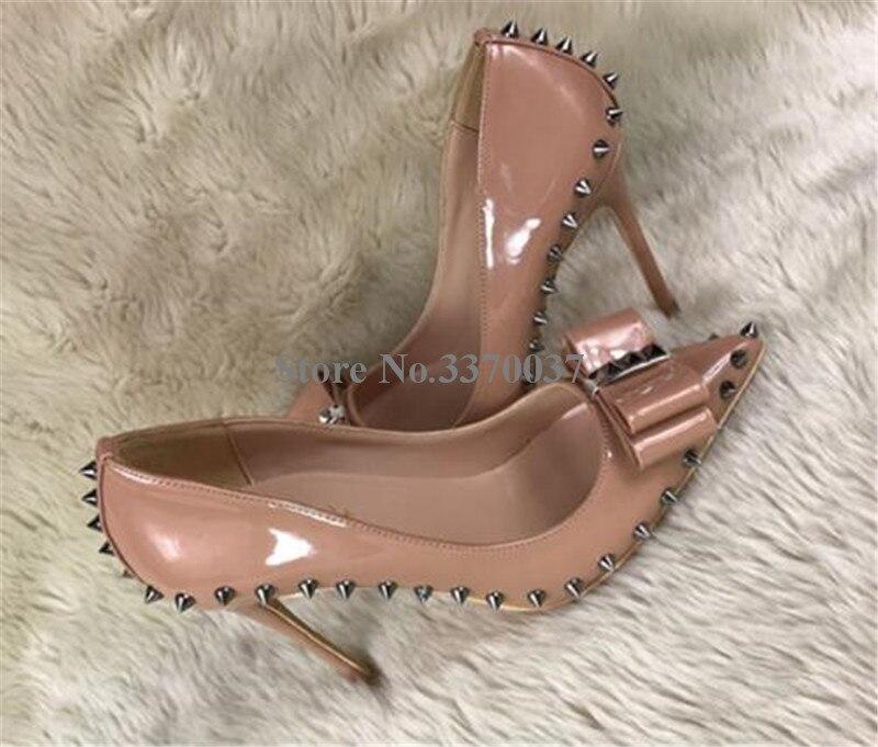 8cm 12cm Papillon Femmes leather Chaussures Bout Cm Talon Cuir Pointu De Hauts Nude Élégant Mariage Pompes 12 En Verni Nœud Talons Robe Heel Mince Heel patent Formelle 8 Leather Heel qFq8g