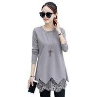 Plus Size 5XL Blouses Autumn Winter Women Long Blouse Shirt 2017 Korean Long Sleeve Lace Hem