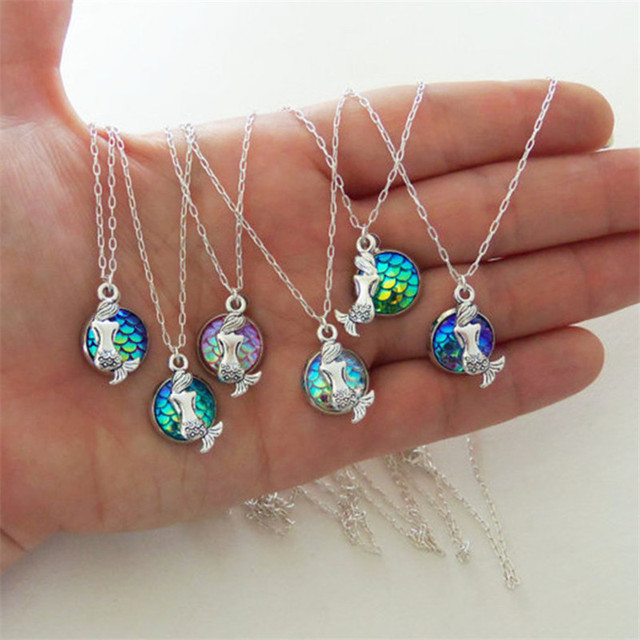 fashion Mermaid Scale Resin Necklace women fish scale necklaces shimmery mermaid jewelry unique Girls birthday present jewelrys