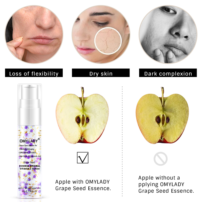 OMY LADY Grape Seed Essence Anti-Wrinkles Face Serum Original Vitamin C Extract Hyaluronic Acid Moisturizing Bright Repair Serum