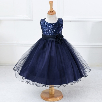 Princess Baby Girl O-neck Sleeveless Sequined Floral Ball Gown Party Dresses One Piece Daily Dress conjuntos casuales para niñas